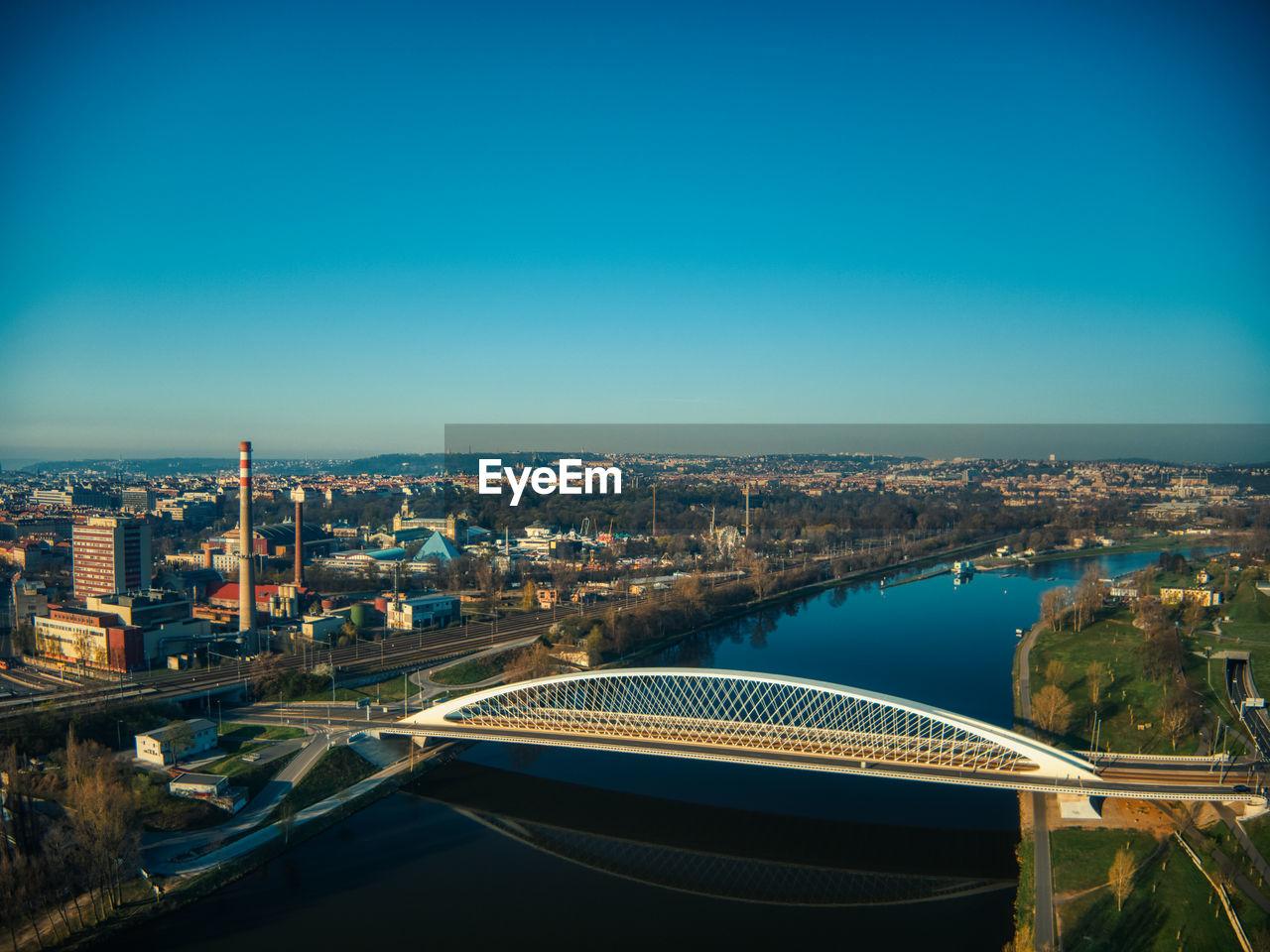 Futuristic troja bridge in holesovice prague