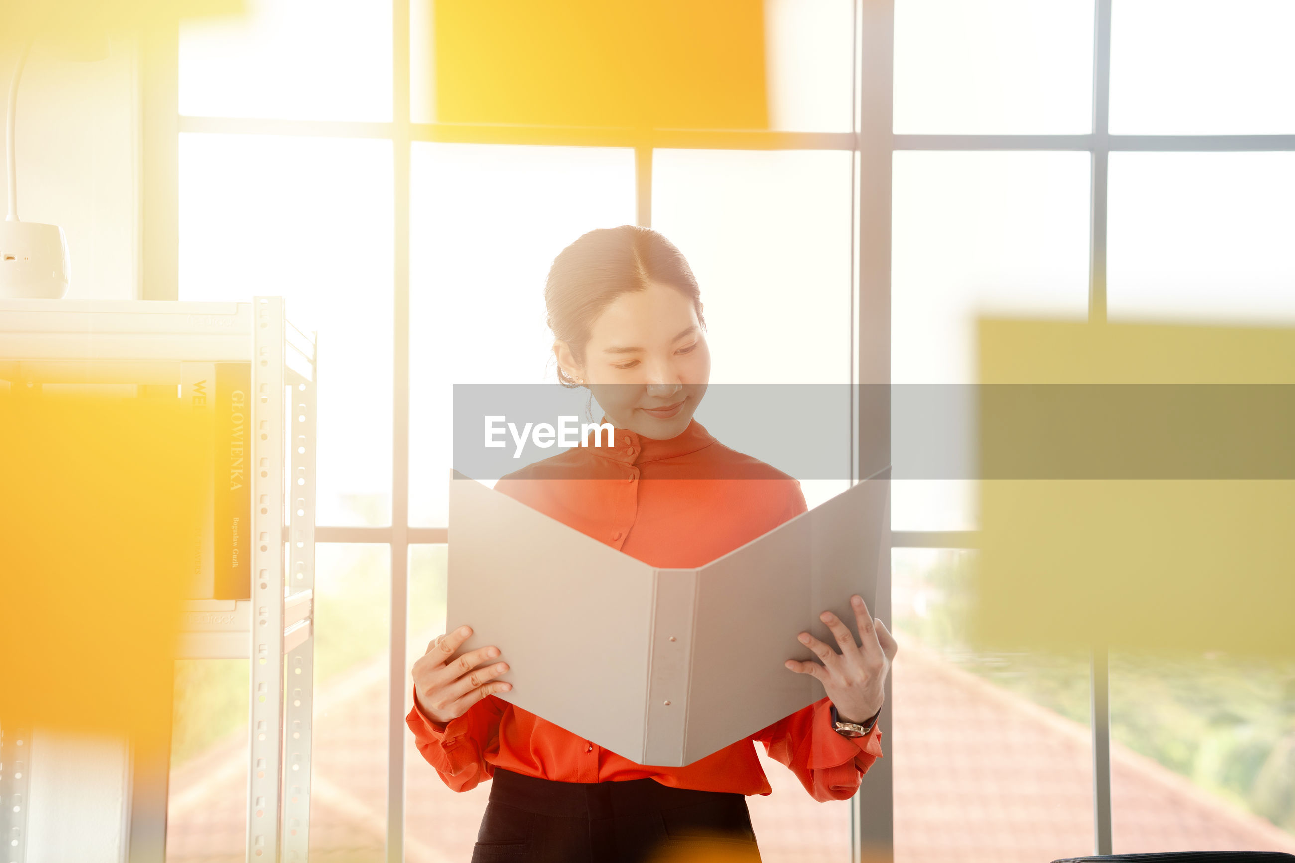 Woman reading file while standing in office seen through glass window