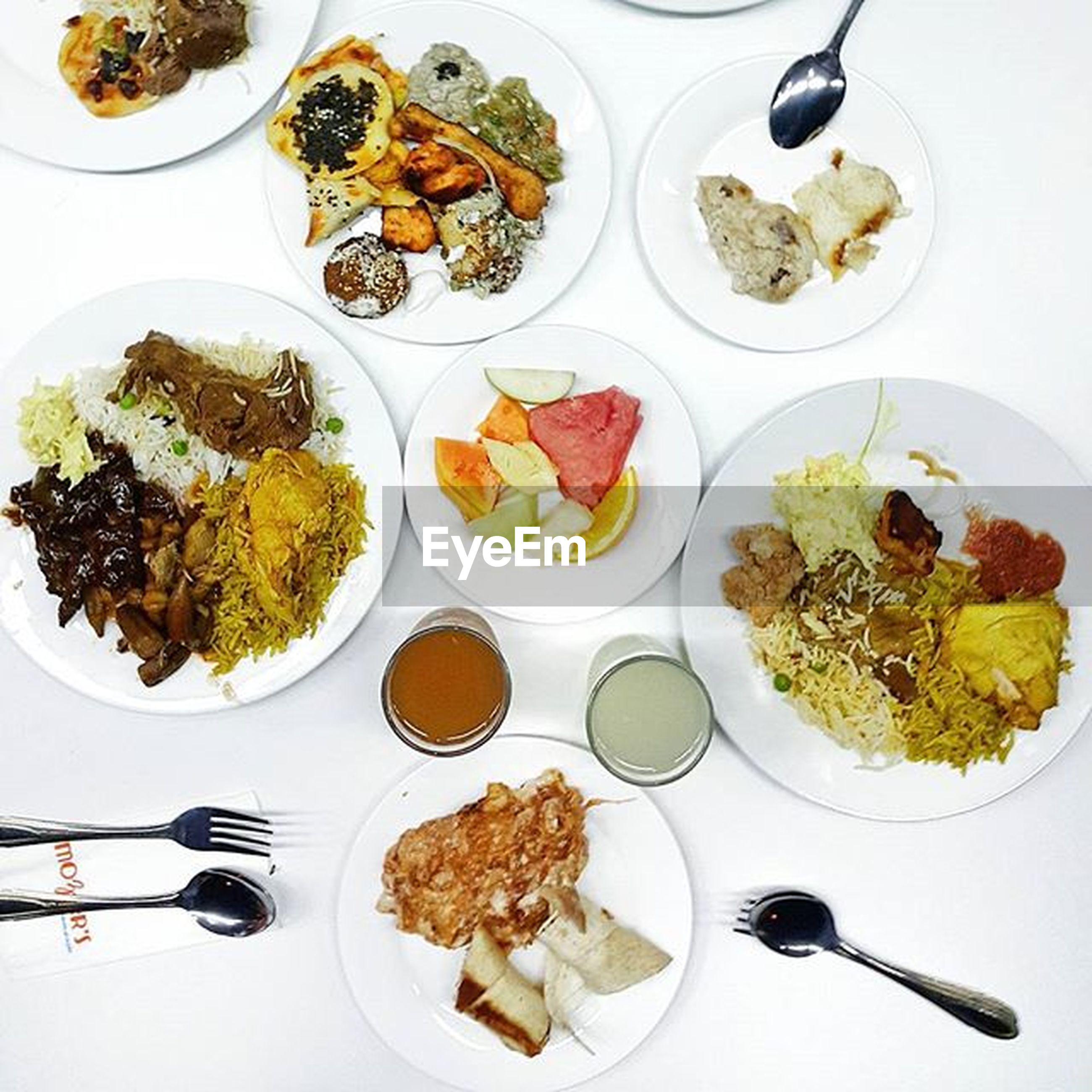 food and drink, food, plate, freshness, indoors, ready-to-eat, table, healthy eating, meal, still life, high angle view, serving size, salad, fork, directly above, bowl, served, vegetable, meat, spoon