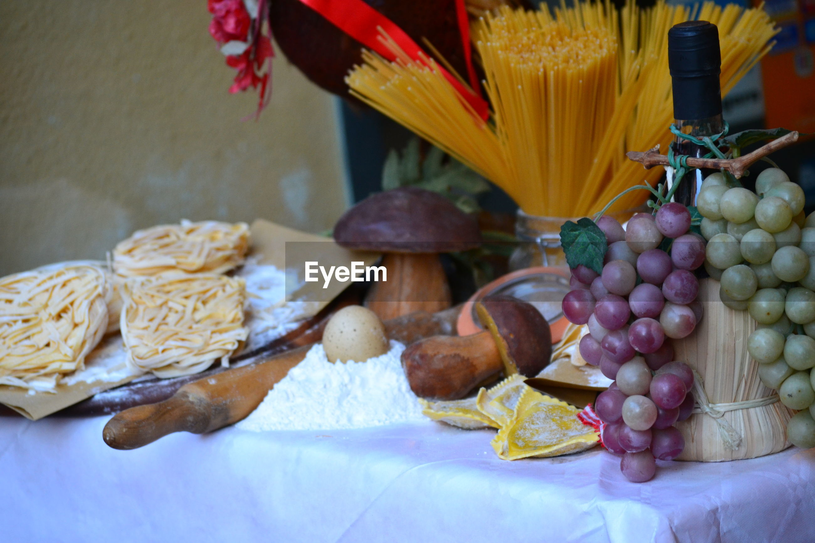 High angle view of fruits  and mushrooms on table