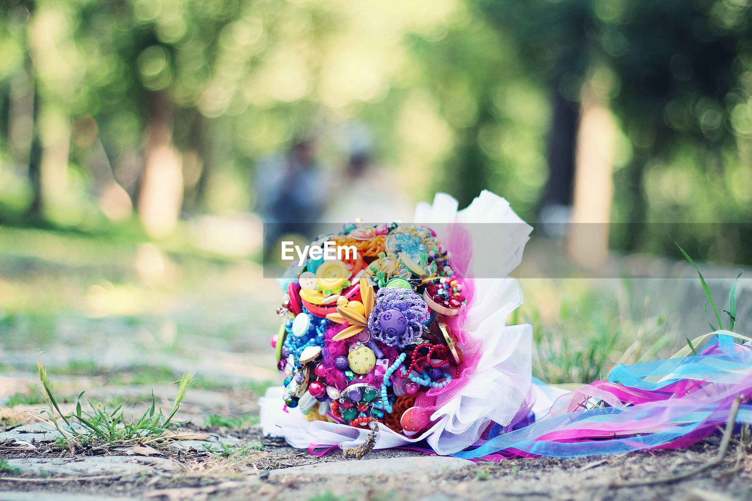 Close-up of multi colored bouquet on land