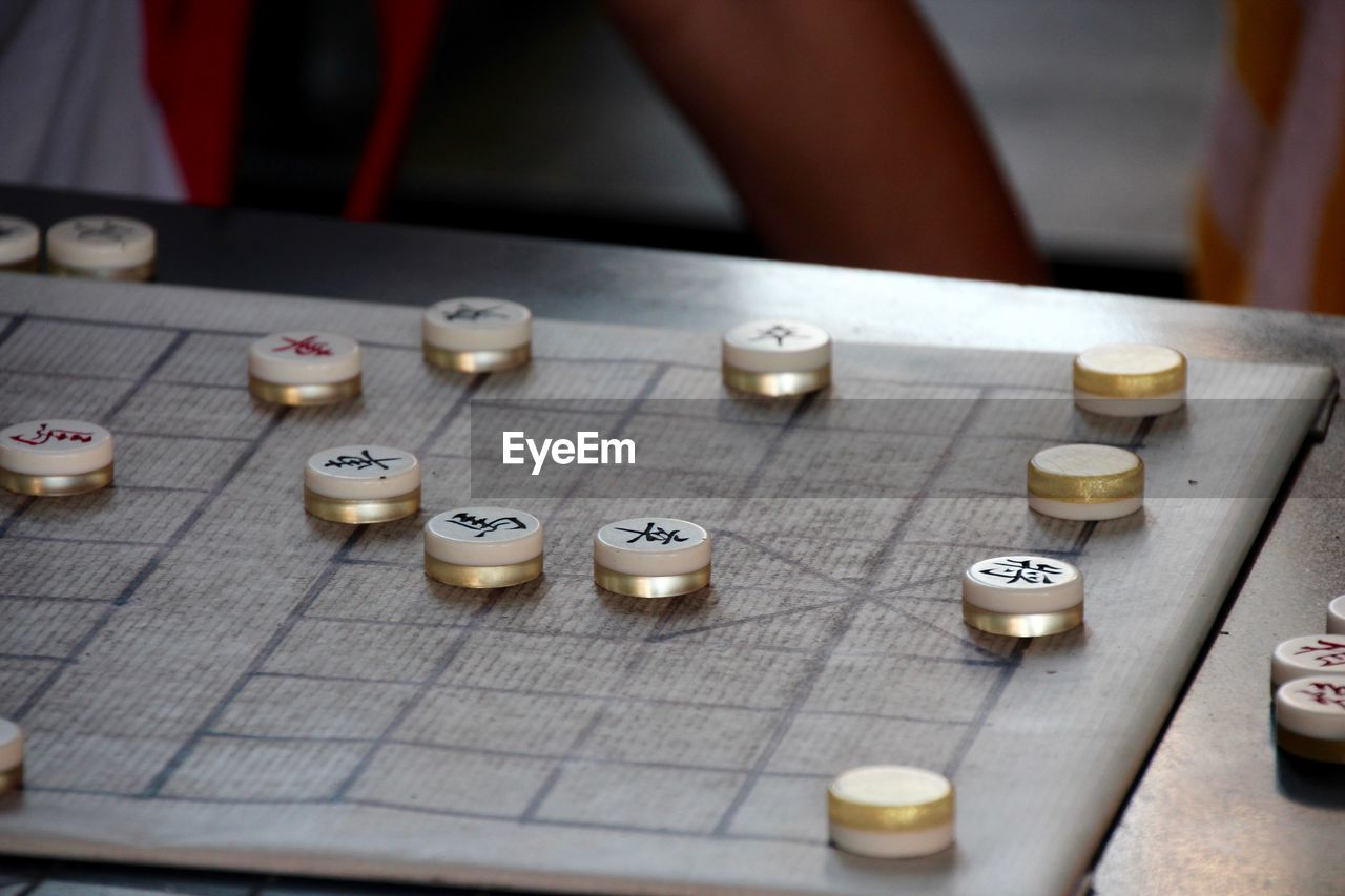 High angle view of board game on table