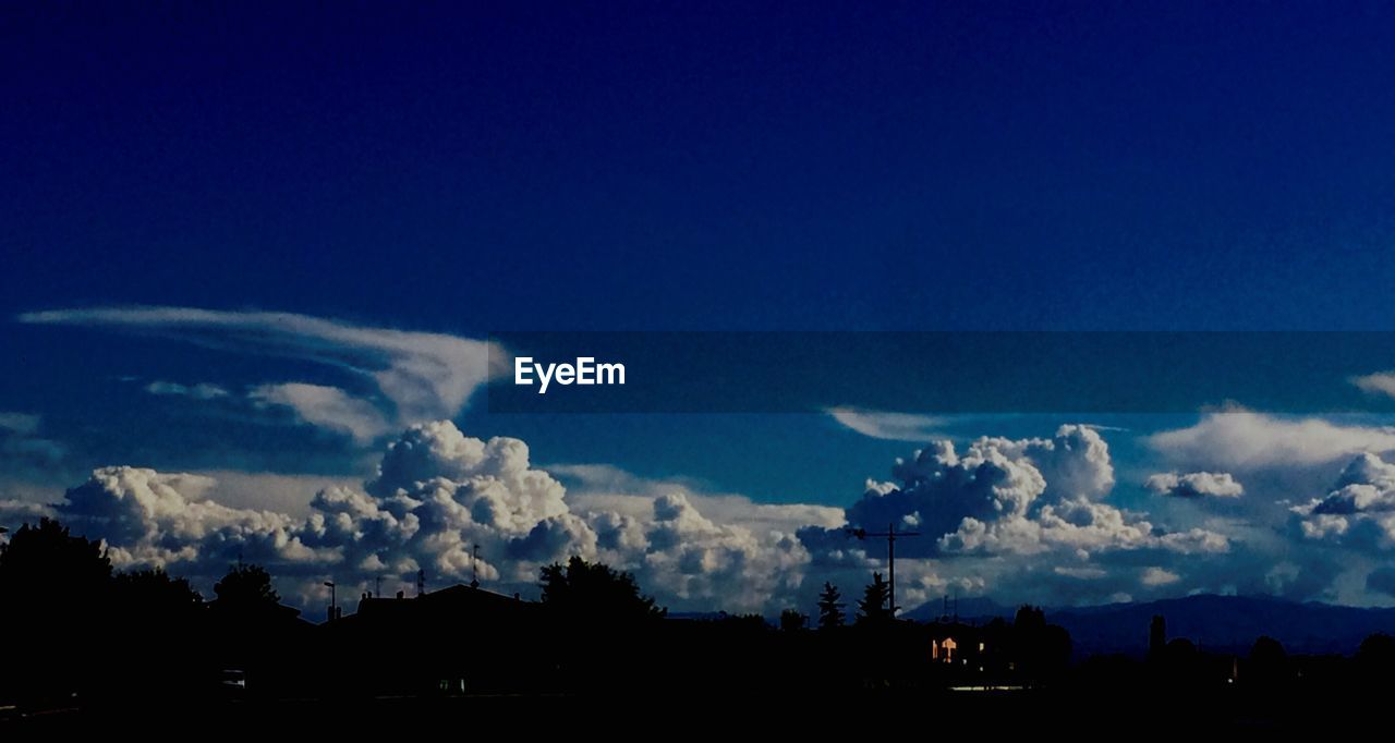silhouette, sky, blue, cloud - sky, nature, beauty in nature, no people, scenics, tranquility, outdoors, night
