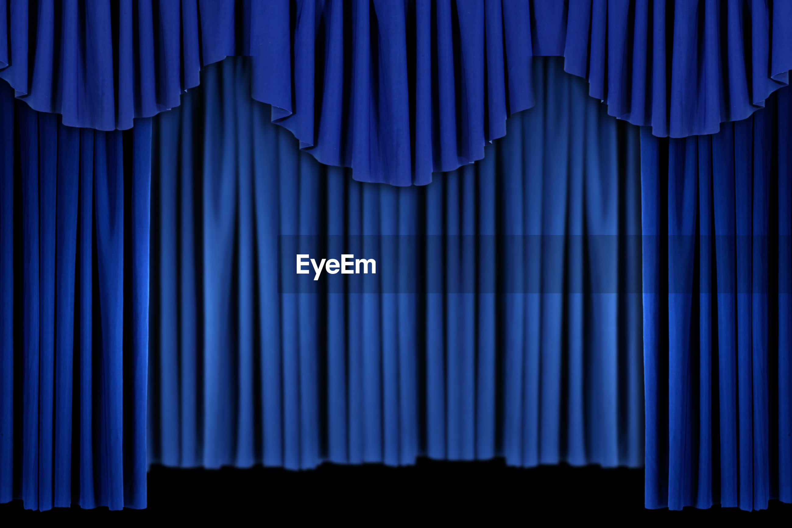 FULL FRAME SHOT OF BLUE CURTAIN WITH CLOSED LIGHTS