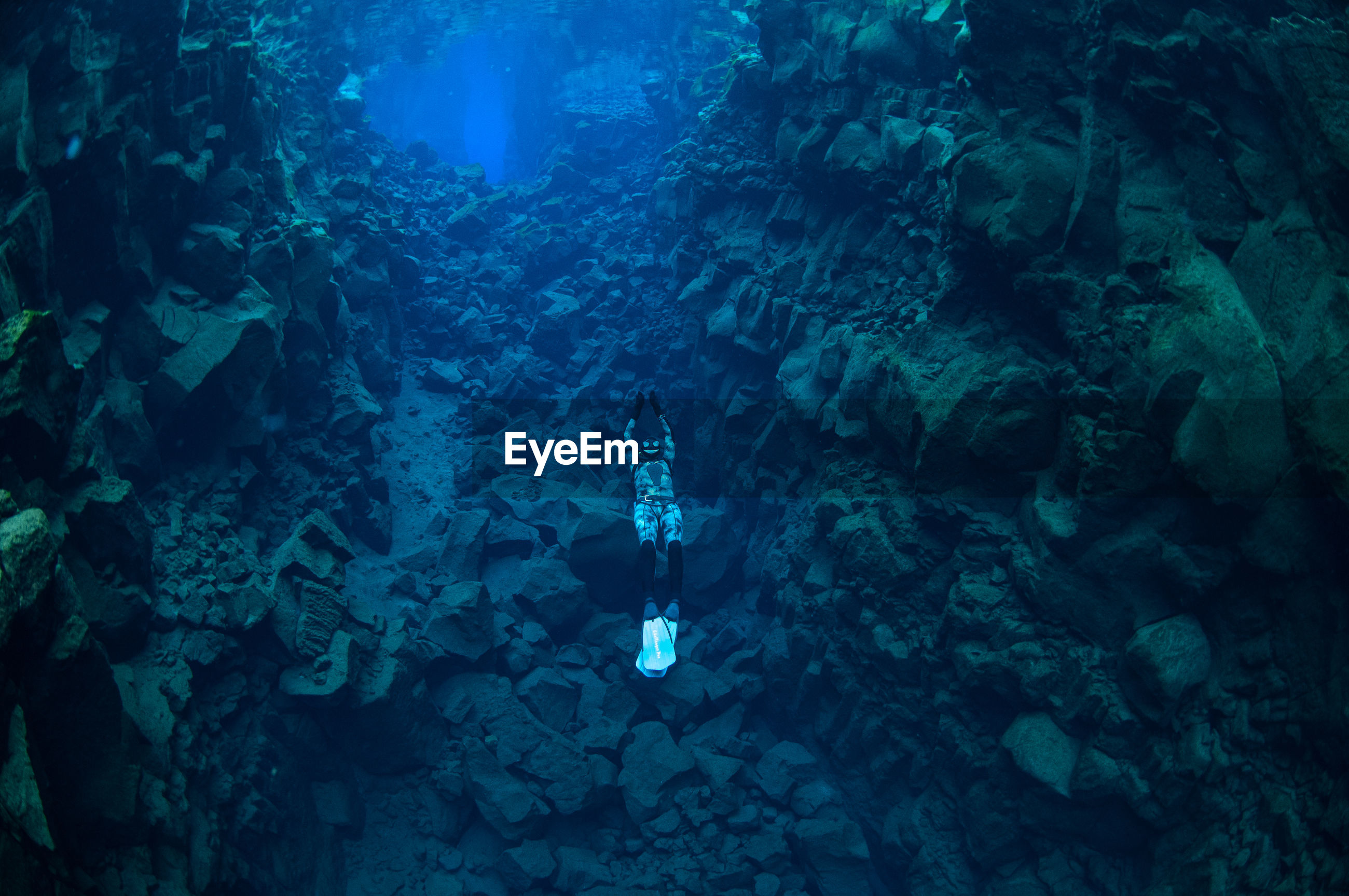 High angle view of scuba diver