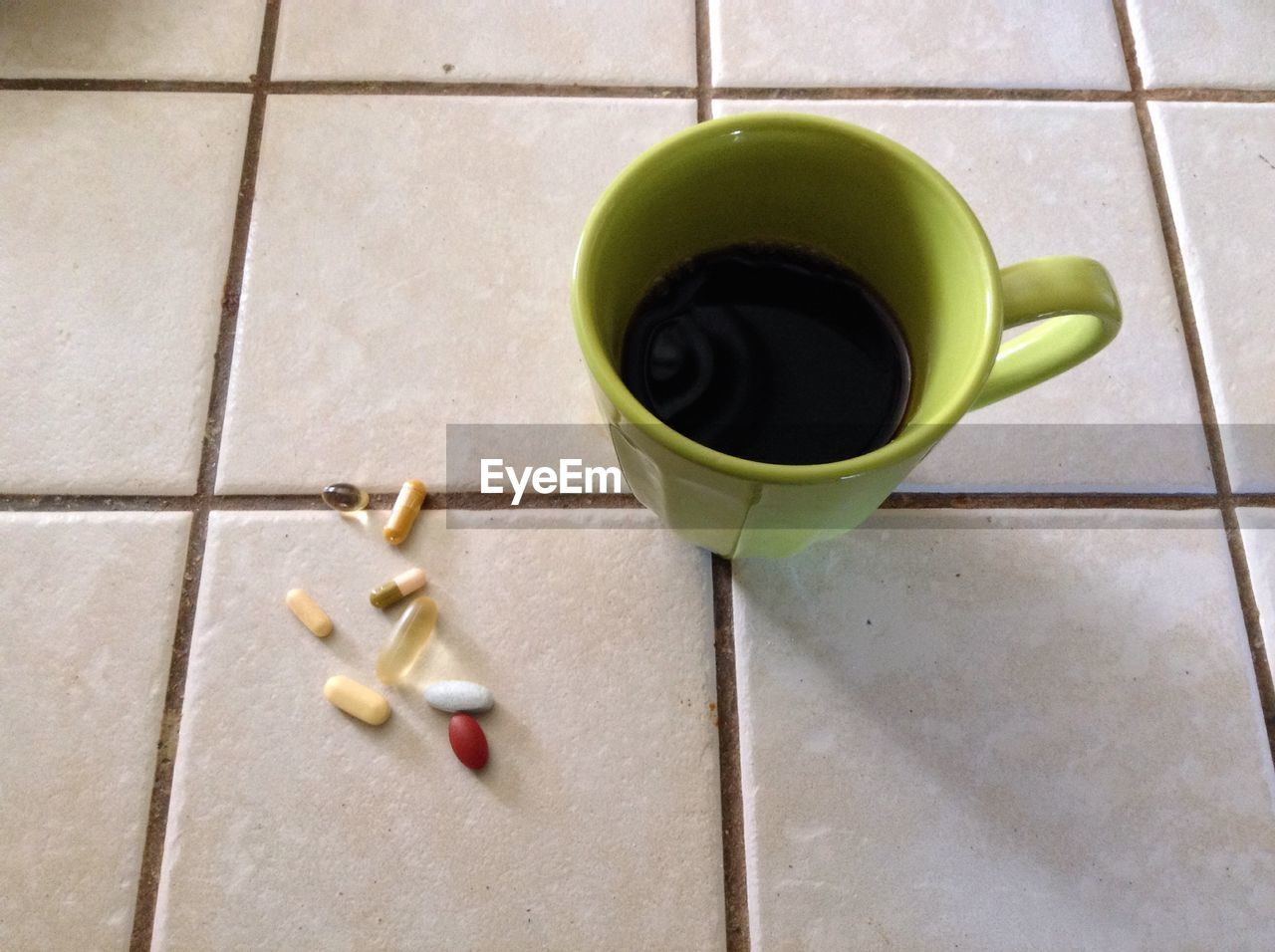 Herbal tea cup with tablets