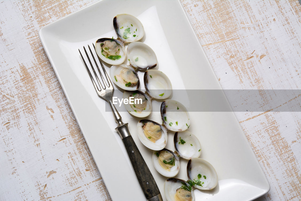High angle view of appetizers in tray on table