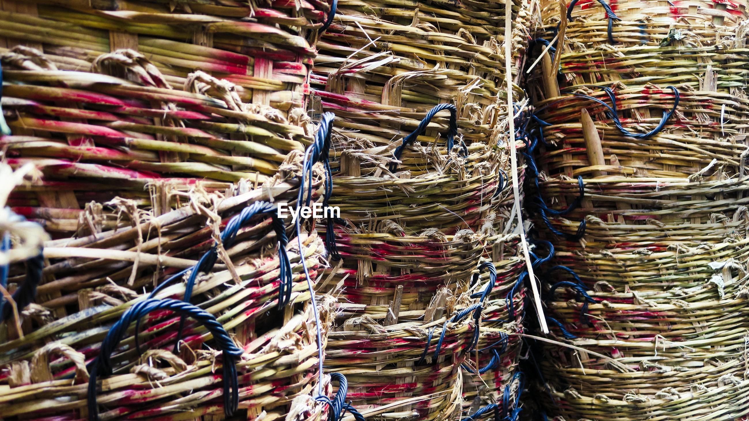 Full frame shot of stacked baskets