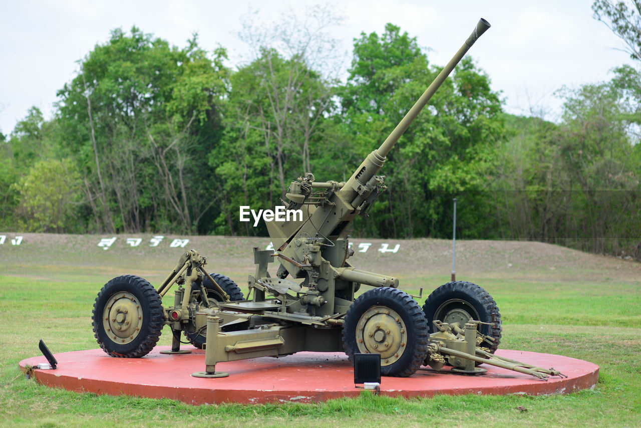 tree, plant, transportation, day, weapon, land, nature, cannon, mode of transportation, field, no people, military, outdoors, growth, green color, history, wheel, grass, armored tank, conflict, aggression