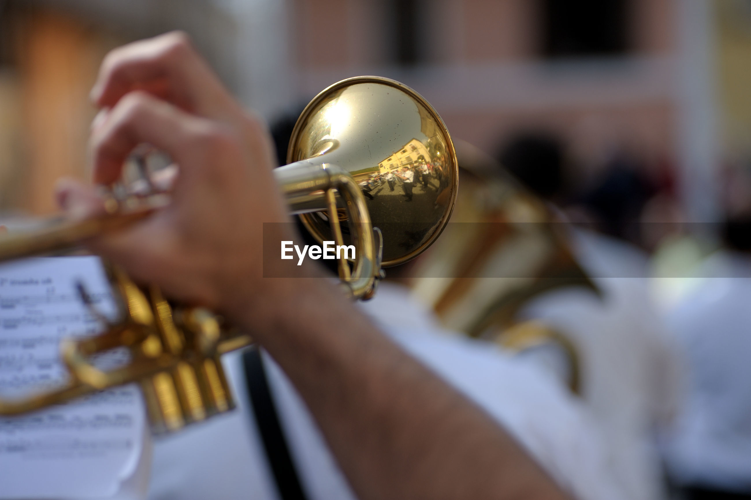 Close-up of musician playing trumpet