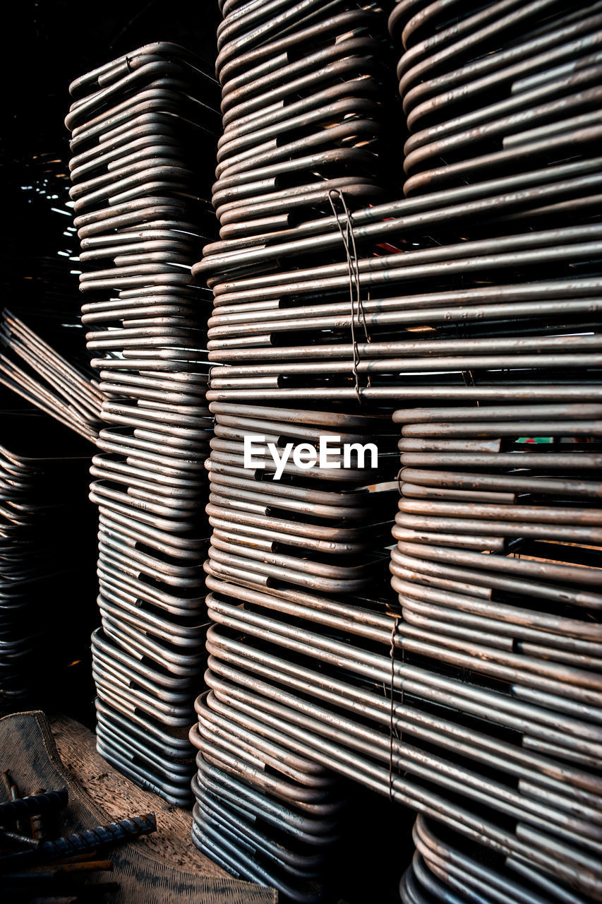 stack, large group of objects, indoors, metal, no people, industry, abundance, business, still life, backgrounds, full frame, factory, close-up, repetition, arrangement, in a row, pattern, day, technology, equipment, steel, alloy, metal industry