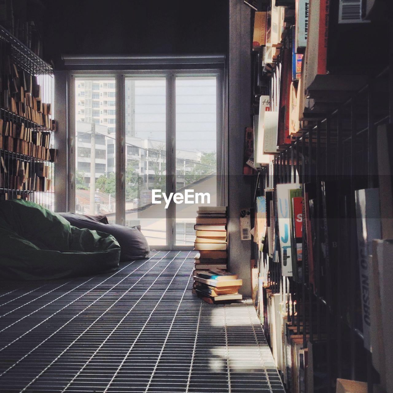 Bookshelf And Bean Bags At Home