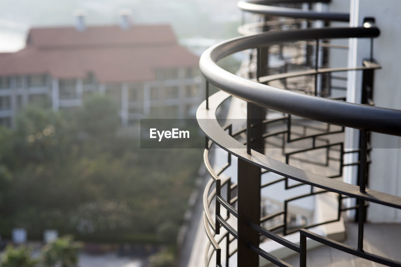 Close-up of balcony in city