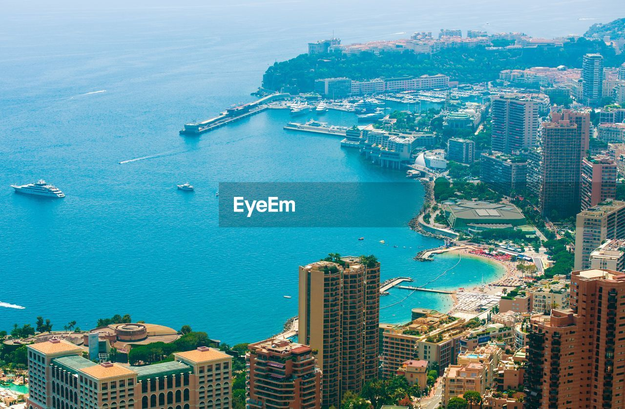 Aerial View Of Cityscape At Monte Carlo By Sea