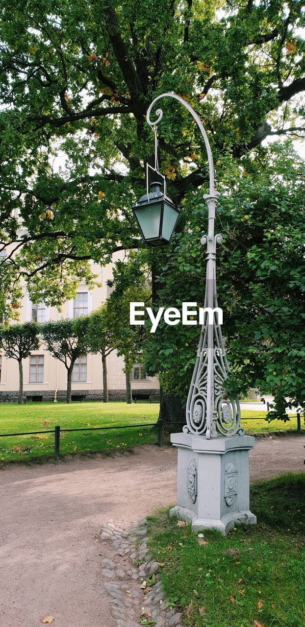 plant, tree, built structure, nature, architecture, growth, no people, day, building exterior, lighting equipment, park, street, outdoors, street light, grass, green color, park - man made space, hanging, footpath, building, electric lamp