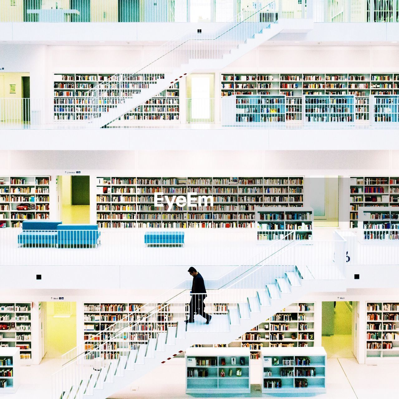 architecture, real people, railing, library, book, built structure, bookshelf, shelf, one person, men, indoors, day, people
