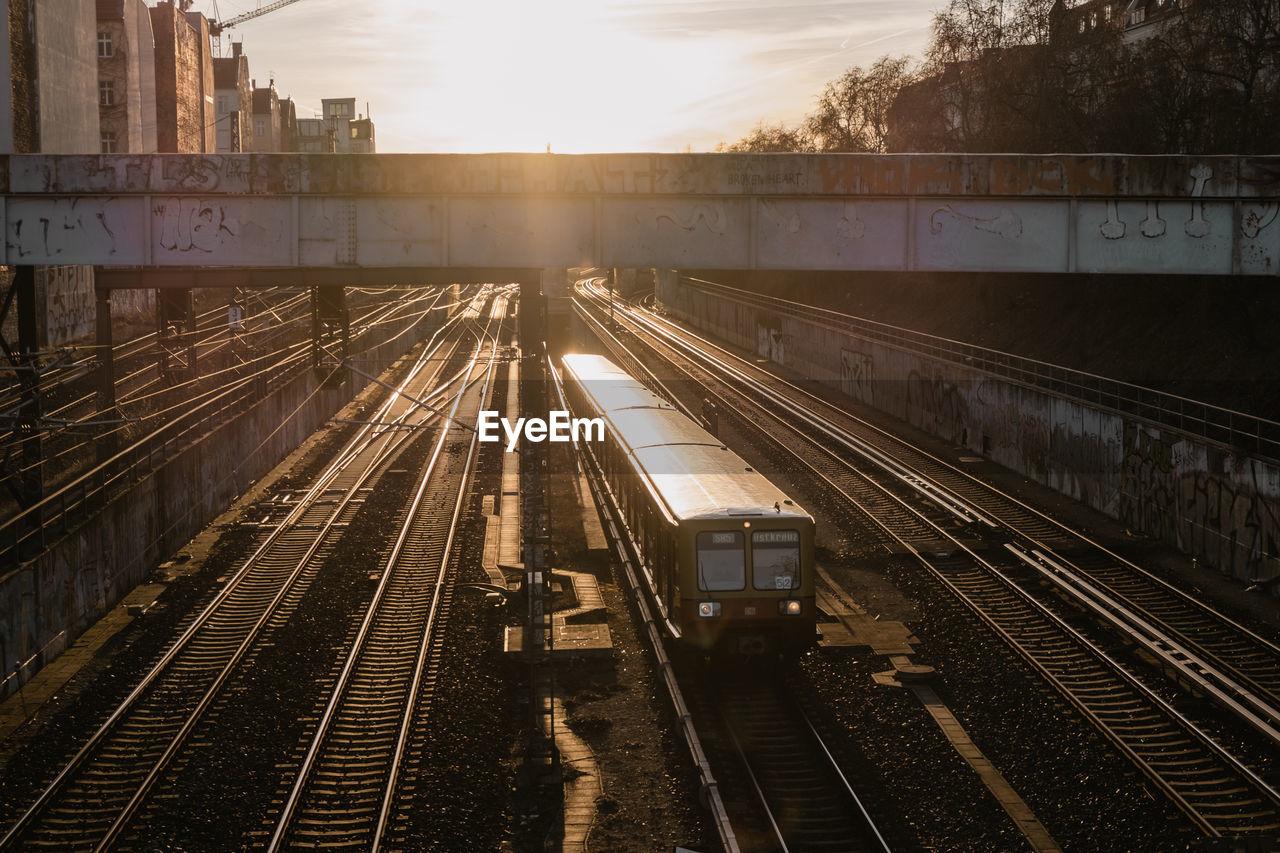 High Angle View Of Railway Tracks At Sunset