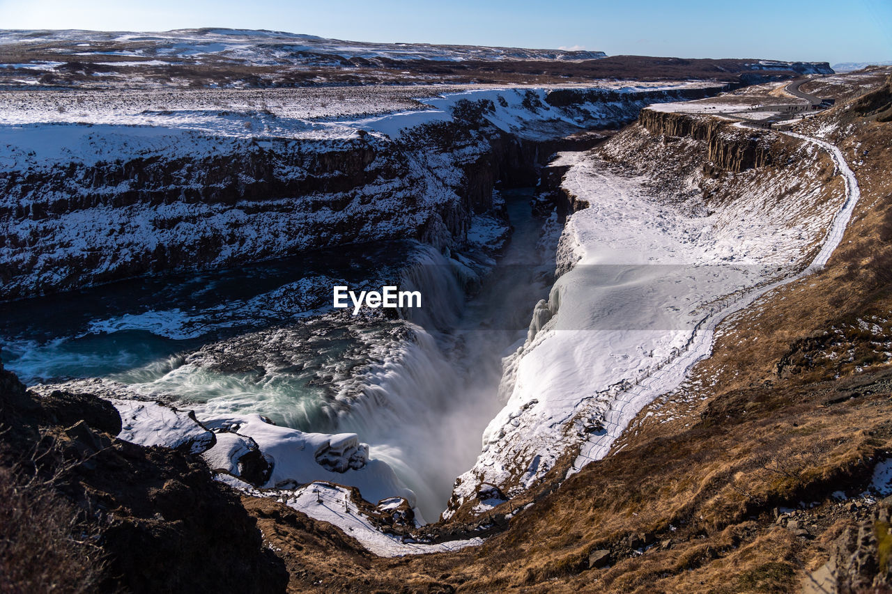 Scenic View Of Waterfall Amidst Snowcapped Mountains Against Blue Sky