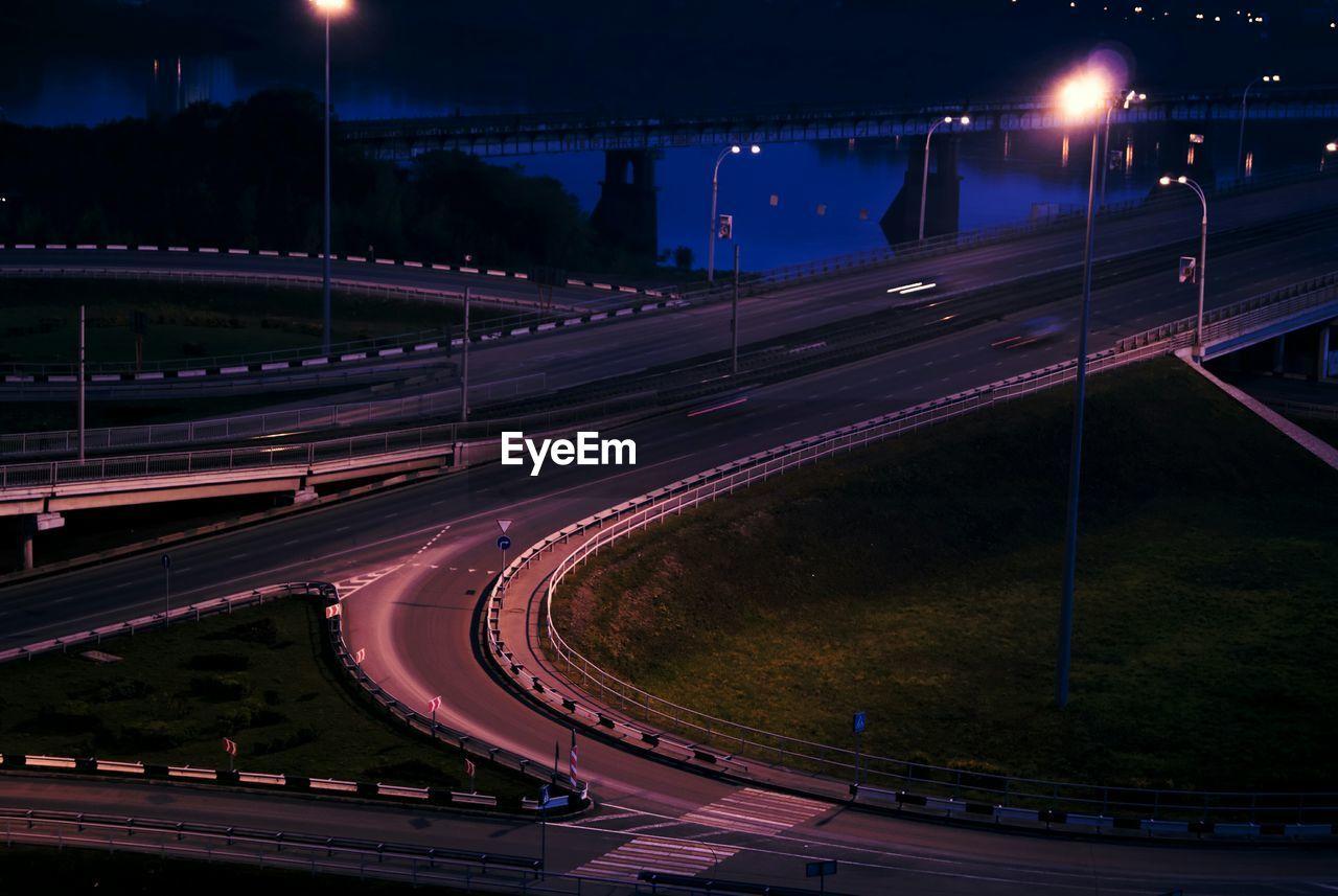 High Angle View Of Bridge At Night