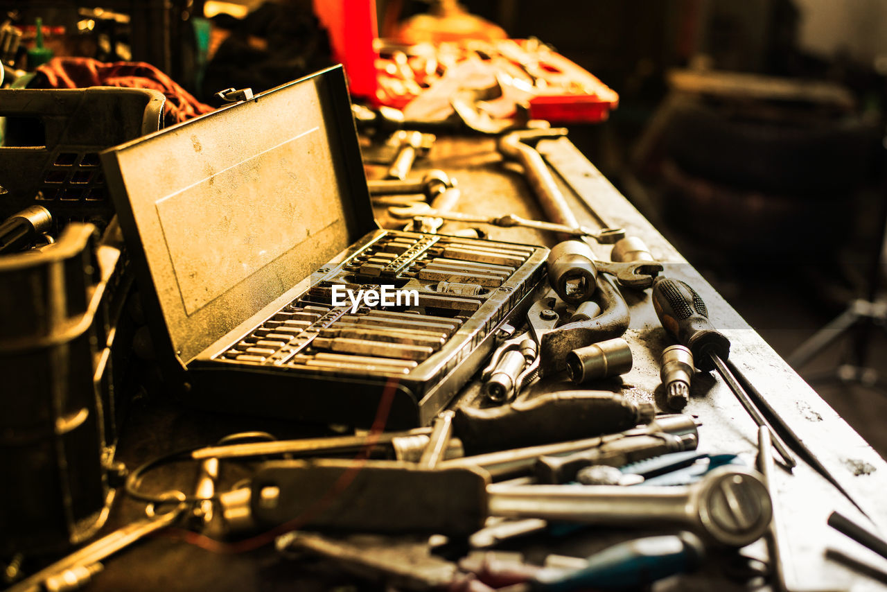 metal, selective focus, no people, retro styled, still life, old, indoors, technology, obsolete, abandoned, the past, close-up, history, table, control, antique, run-down, large group of objects, stack