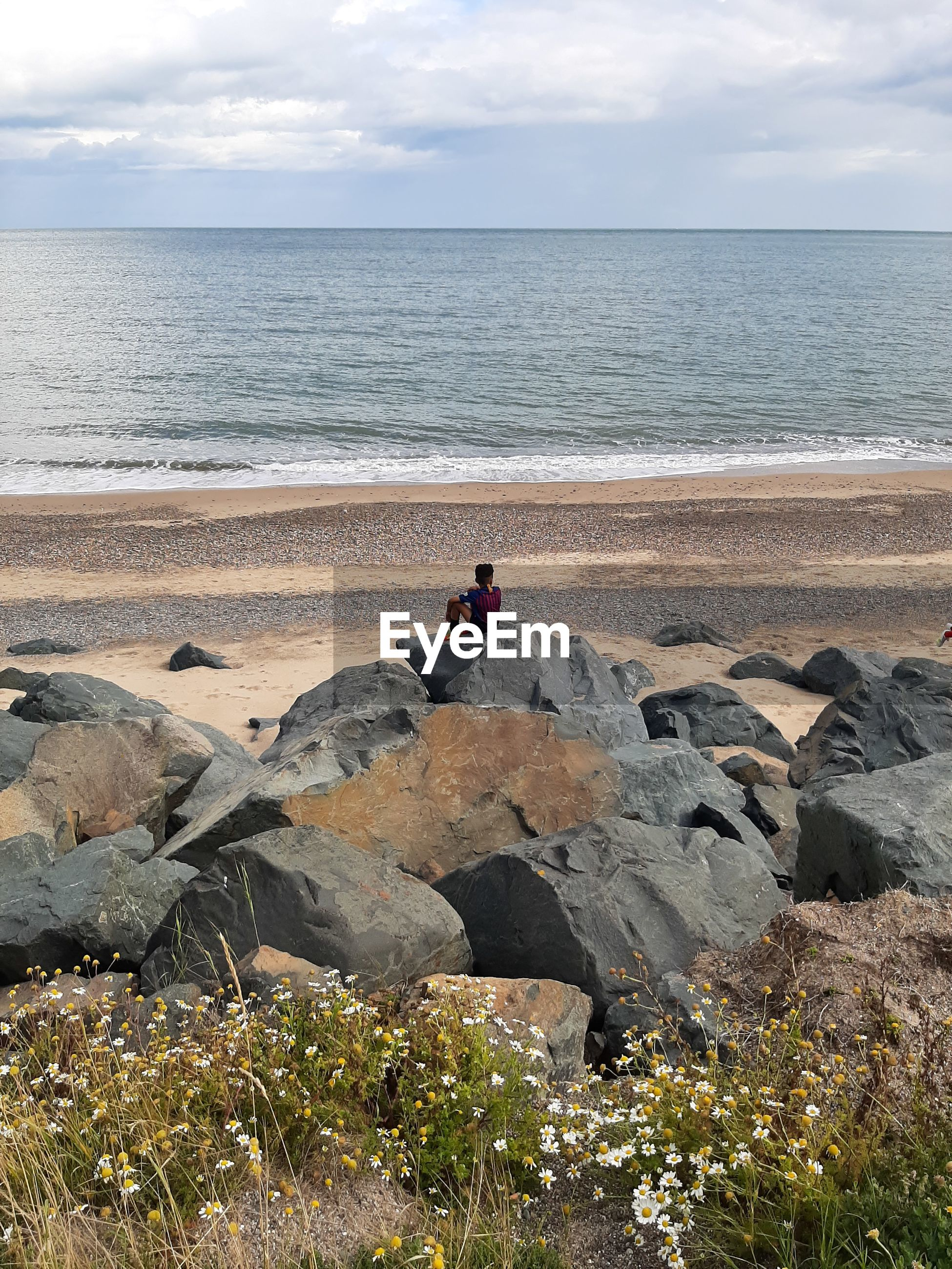 Rear view of boy sitting on rock at beach