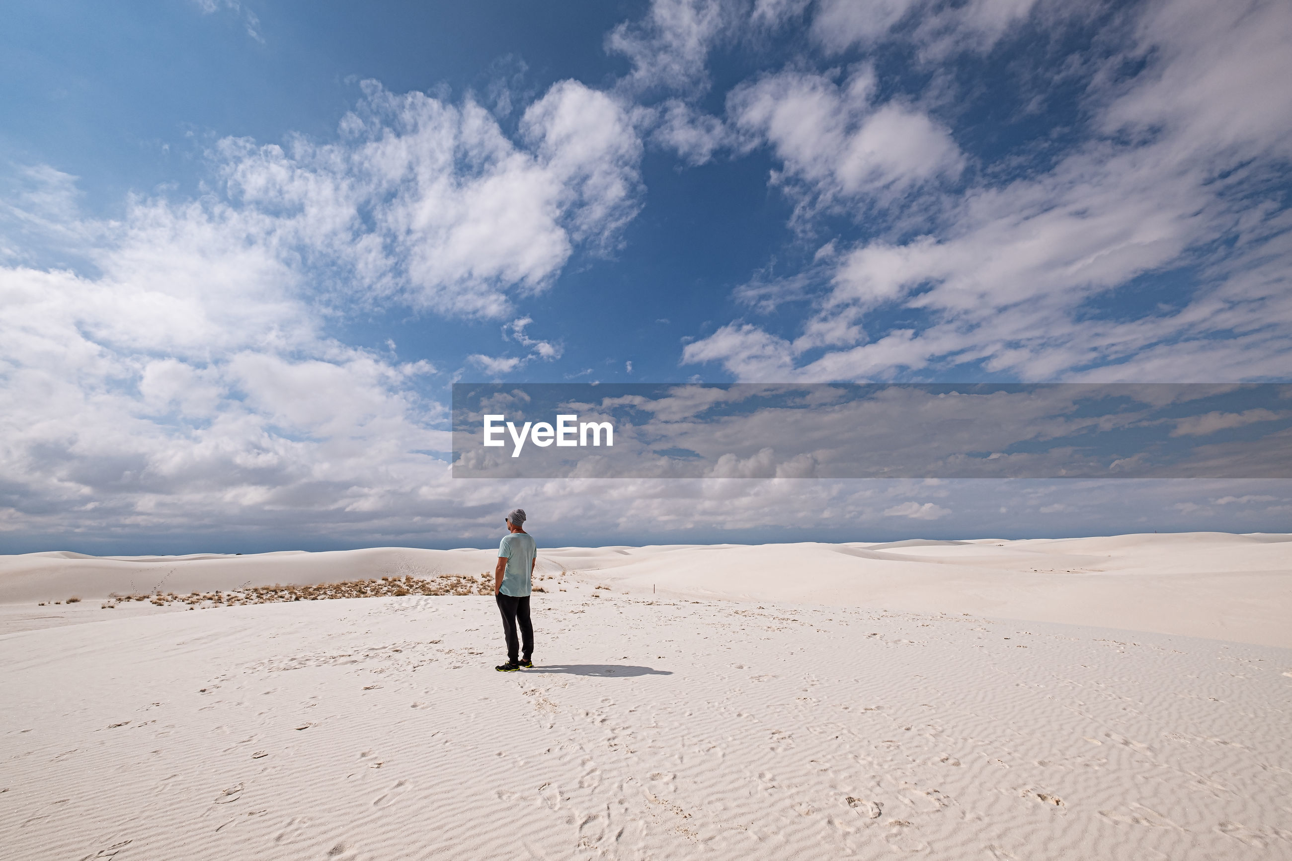 Rear view of man on sand at desert