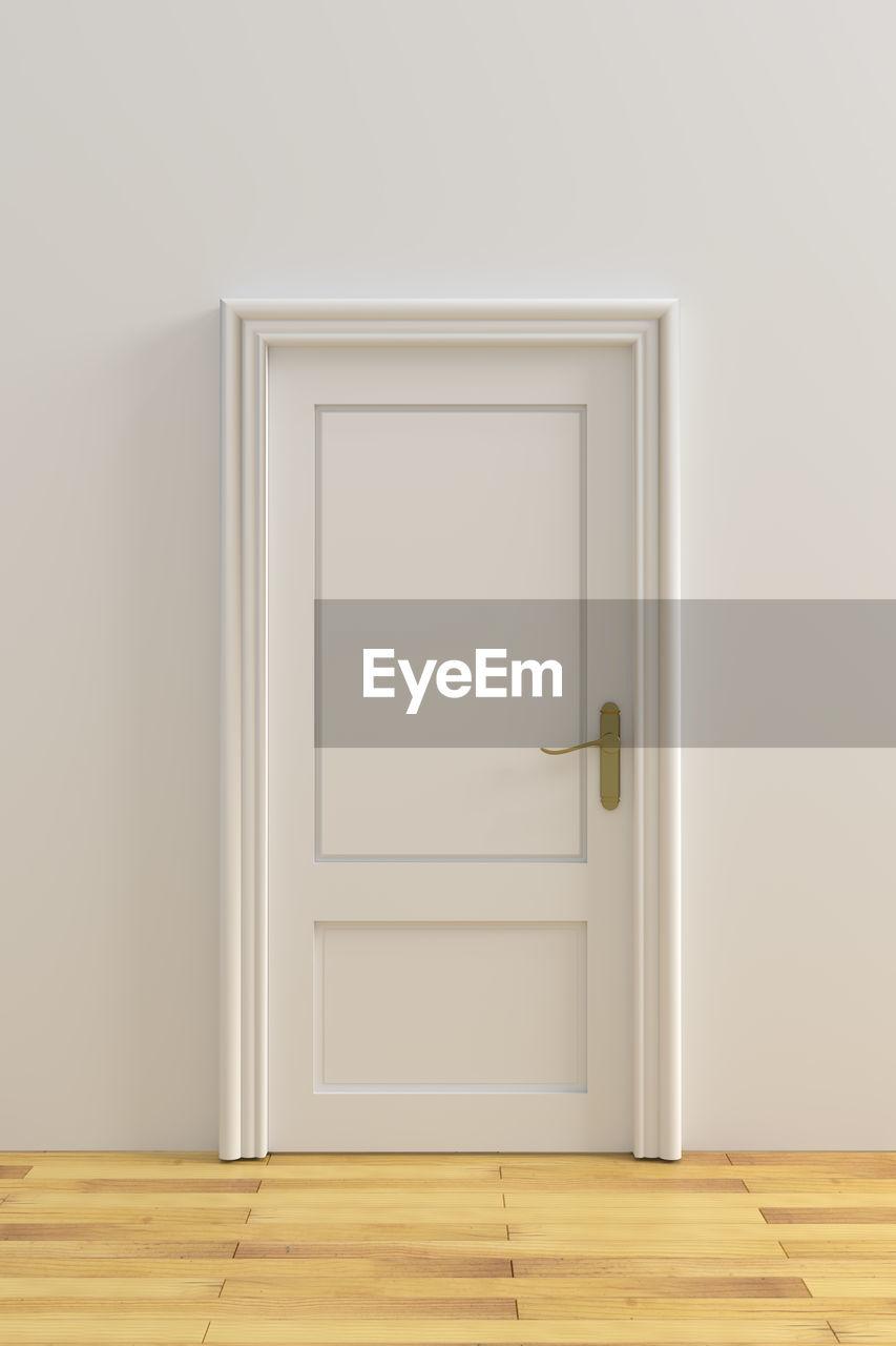 Closed door in house