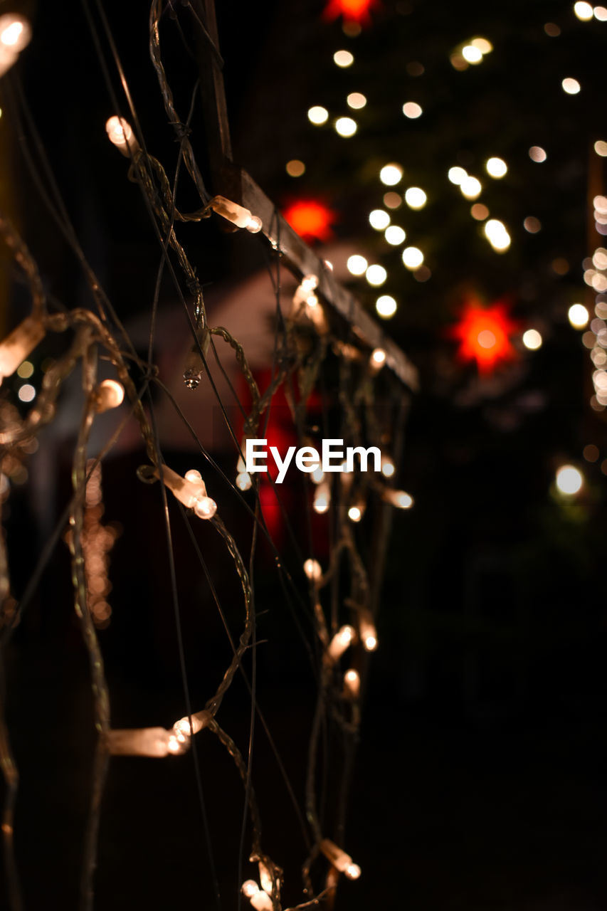 night, illuminated, focus on foreground, celebration, lighting equipment, no people, decoration, close-up, glowing, christmas lights, outdoors, nature, tree, christmas, christmas decoration, light - natural phenomenon, selective focus, string, plant, light, complexity