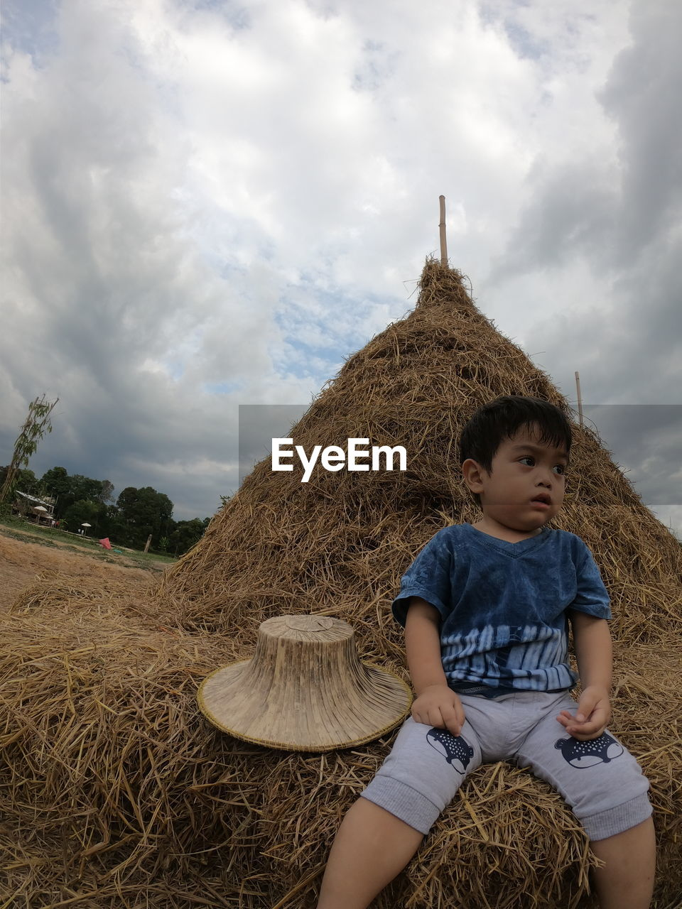 Cute boy looking away while sitting on hay at farm against sky