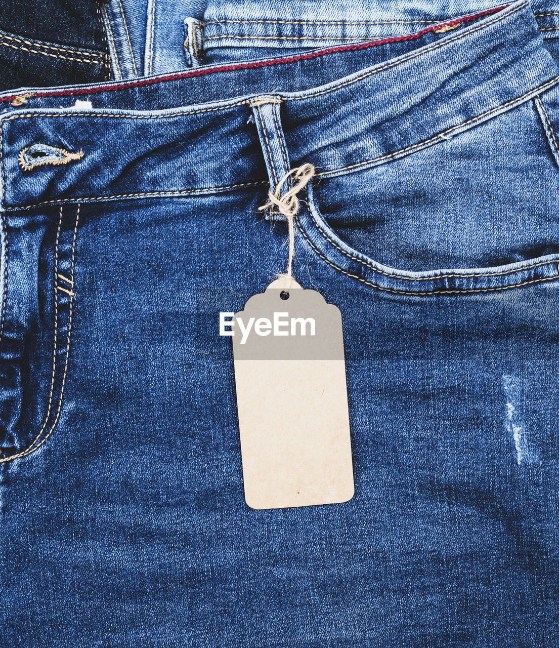 Close-up of blank label on blue jeans