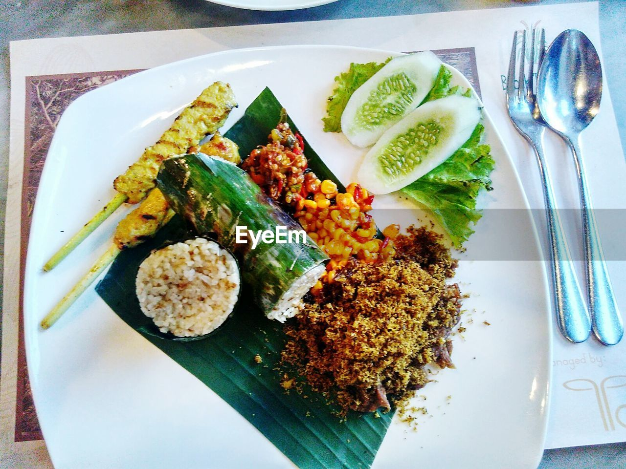 plate, food and drink, food, ready-to-eat, healthy eating, freshness, fork, table, serving size, indoors, no people, high angle view, meal, close-up, day