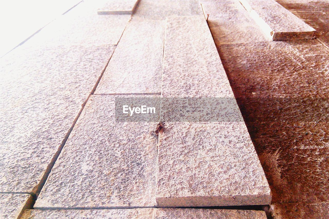 High Angle View Of Incomplete Stone Floor
