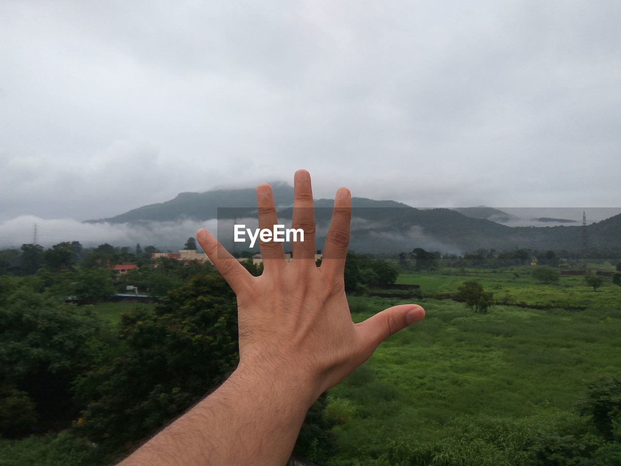 human hand, hand, human body part, sky, cloud - sky, plant, one person, personal perspective, real people, human finger, nature, scenics - nature, finger, body part, mountain, tree, unrecognizable person, environment, day, tranquil scene, outdoors