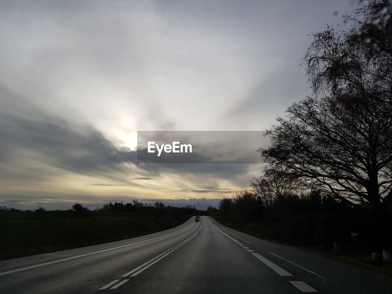 road, sky, transportation, direction, the way forward, cloud - sky, tree, plant, symbol, sign, diminishing perspective, no people, road marking, nature, marking, beauty in nature, vanishing point, outdoors, highway, non-urban scene