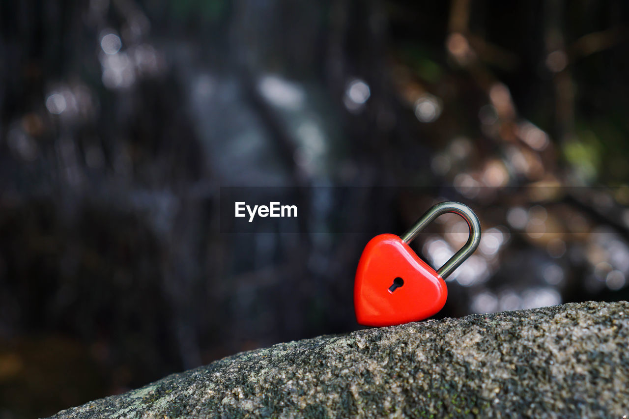 red, focus on foreground, selective focus, close-up, no people, nature, day, outdoors, solid, metal, rock - object, rock, single object, plant, rough, toy, tree trunk, textured, lock, positive emotion