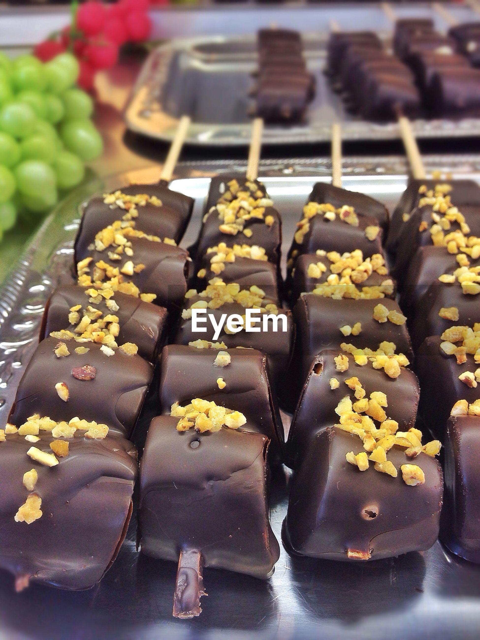 Close-up of chocolate covered bananas in tray