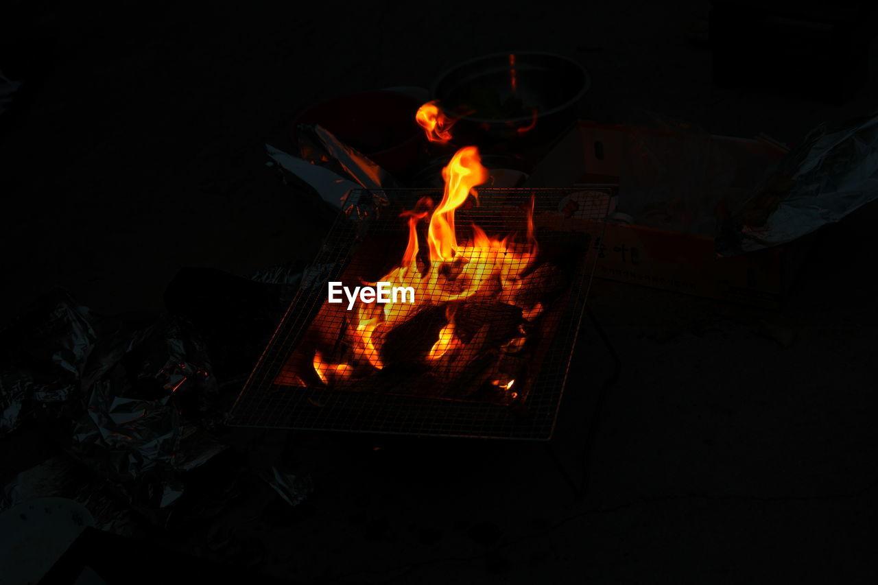 flame, burning, heat - temperature, night, bonfire, outdoors, no people, close-up