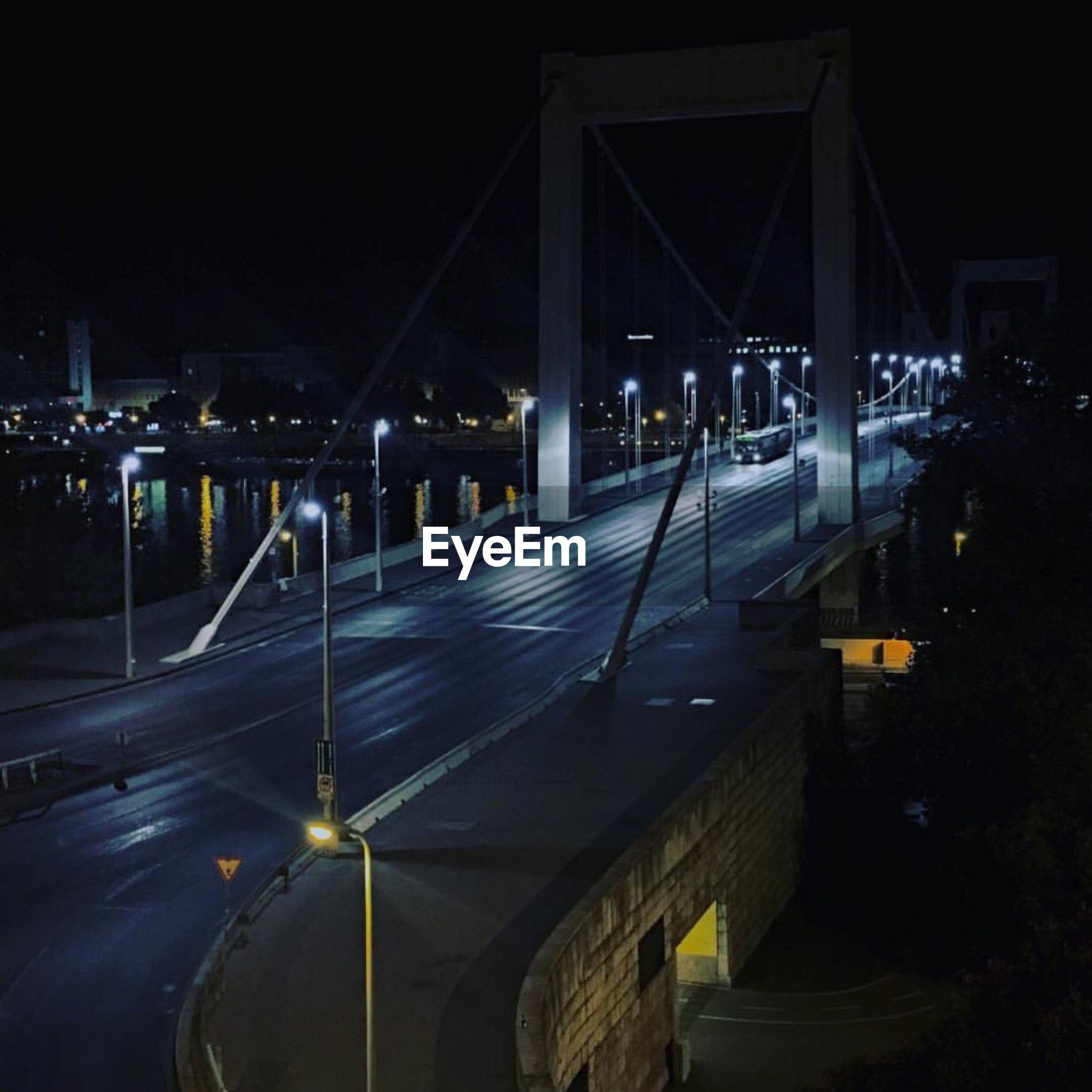 night, illuminated, bridge - man made structure, architecture, transportation, connection, built structure, outdoors, city, road, suspension bridge, no people, building exterior, chain bridge