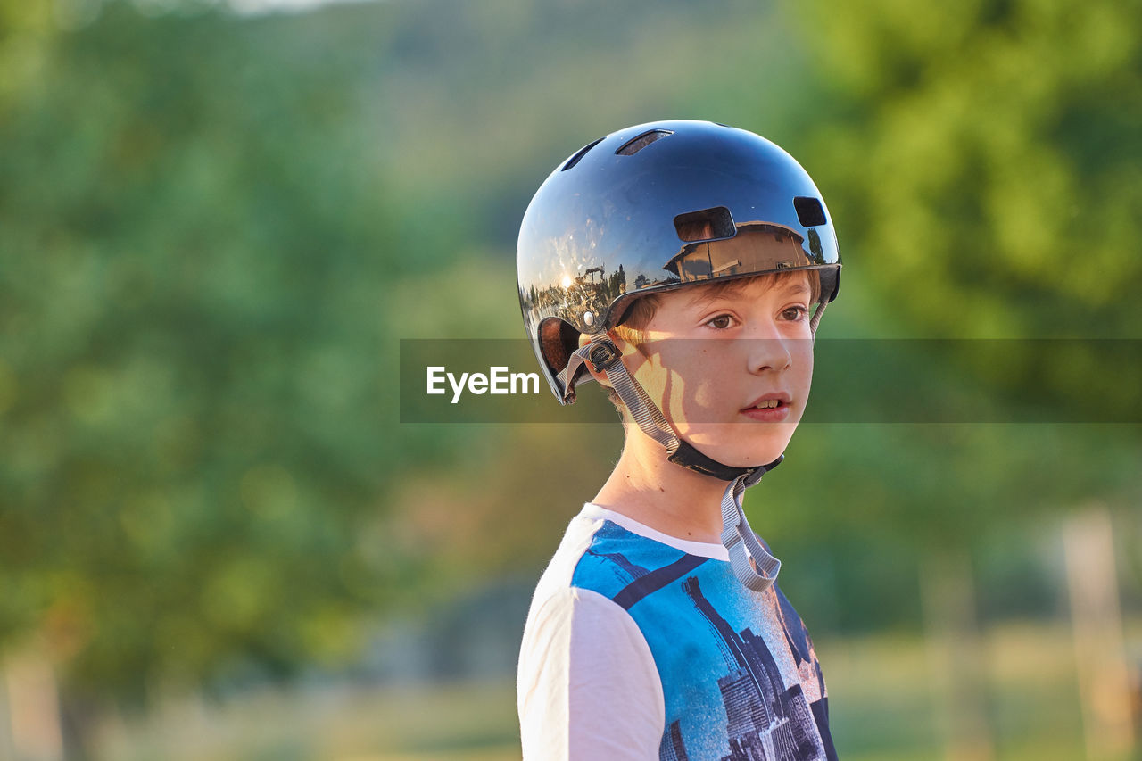 Close-Up Of Boy Wearing Helmet