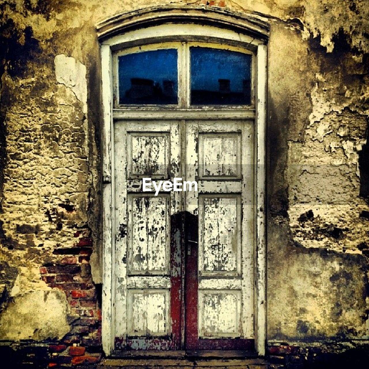 door, built structure, architecture, building exterior, closed, day, no people, outdoors, window, weathered, doorway, open door, close-up