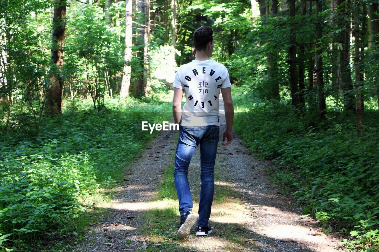 forest, tree, casual clothing, standing, walking, day, full length, one person, front view, real people, outdoors, young adult, nature, men, one man only, adult, people, adults only
