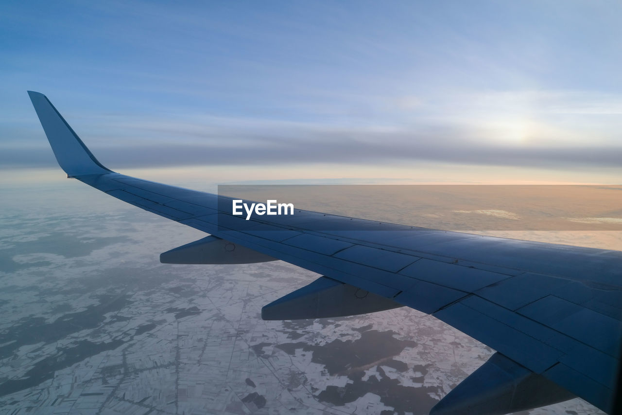 airplane, journey, transportation, sky, airplane wing, travel, nature, aerial view, mode of transport, cloud - sky, aircraft wing, beauty in nature, air vehicle, no people, scenics, outdoors, flying, day, blue, mid-air, the natural world