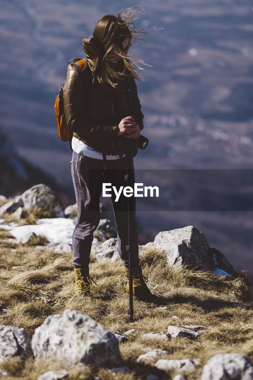 Full Length Of Woman In Mountains