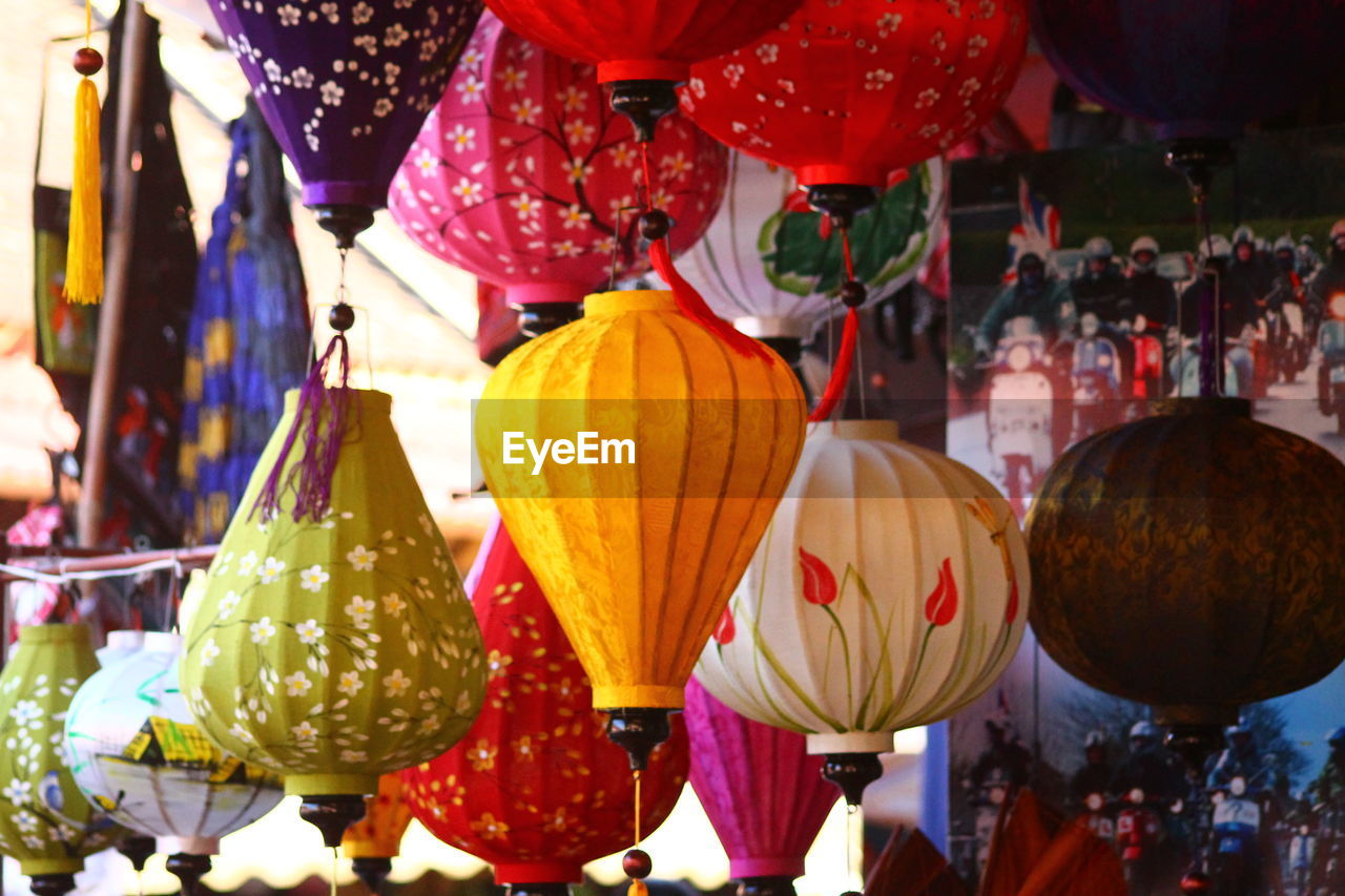 hanging, for sale, focus on foreground, lantern, outdoors, day, retail, no people, close-up