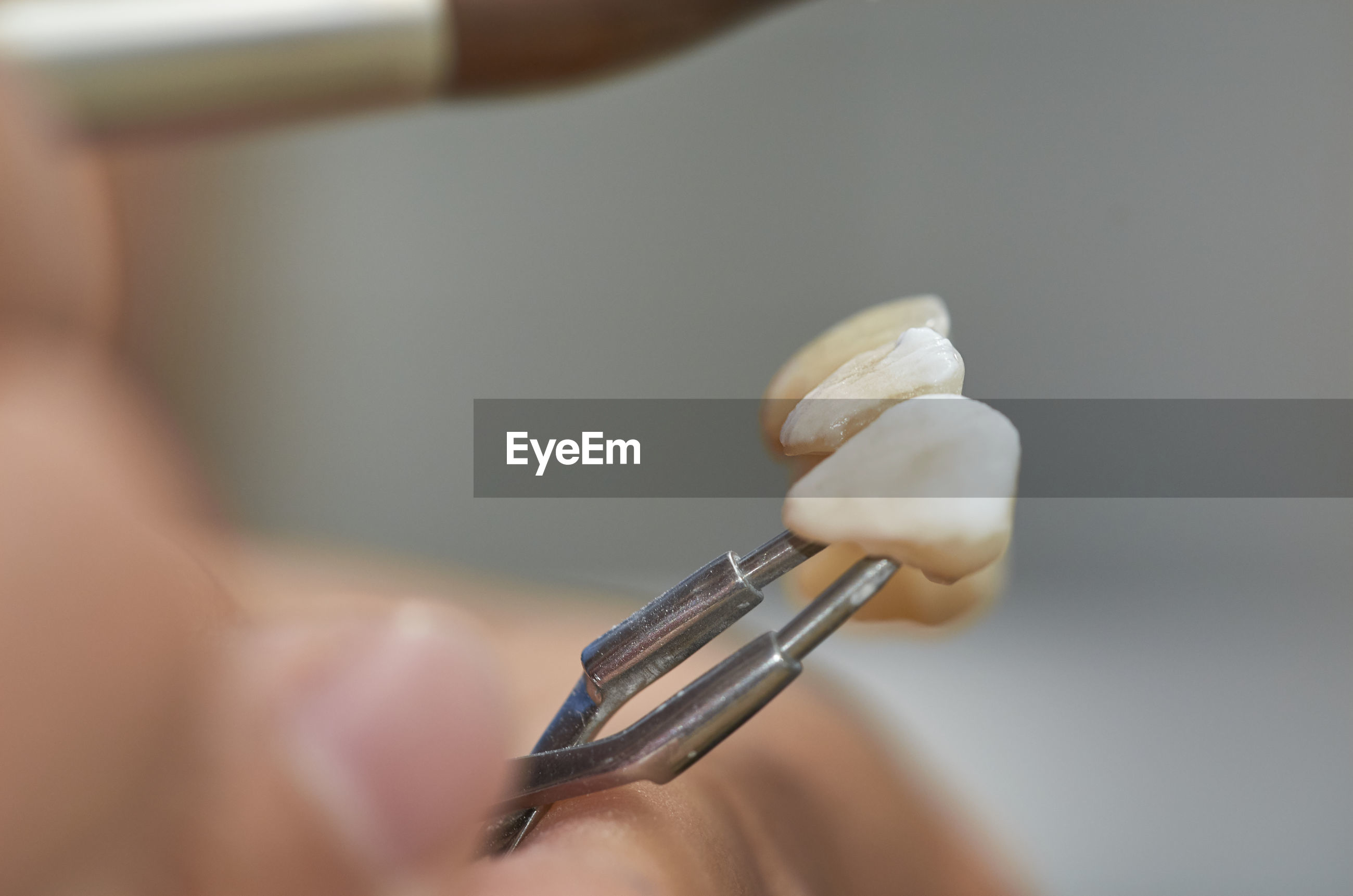 Close-up of hand holding artificial teeth