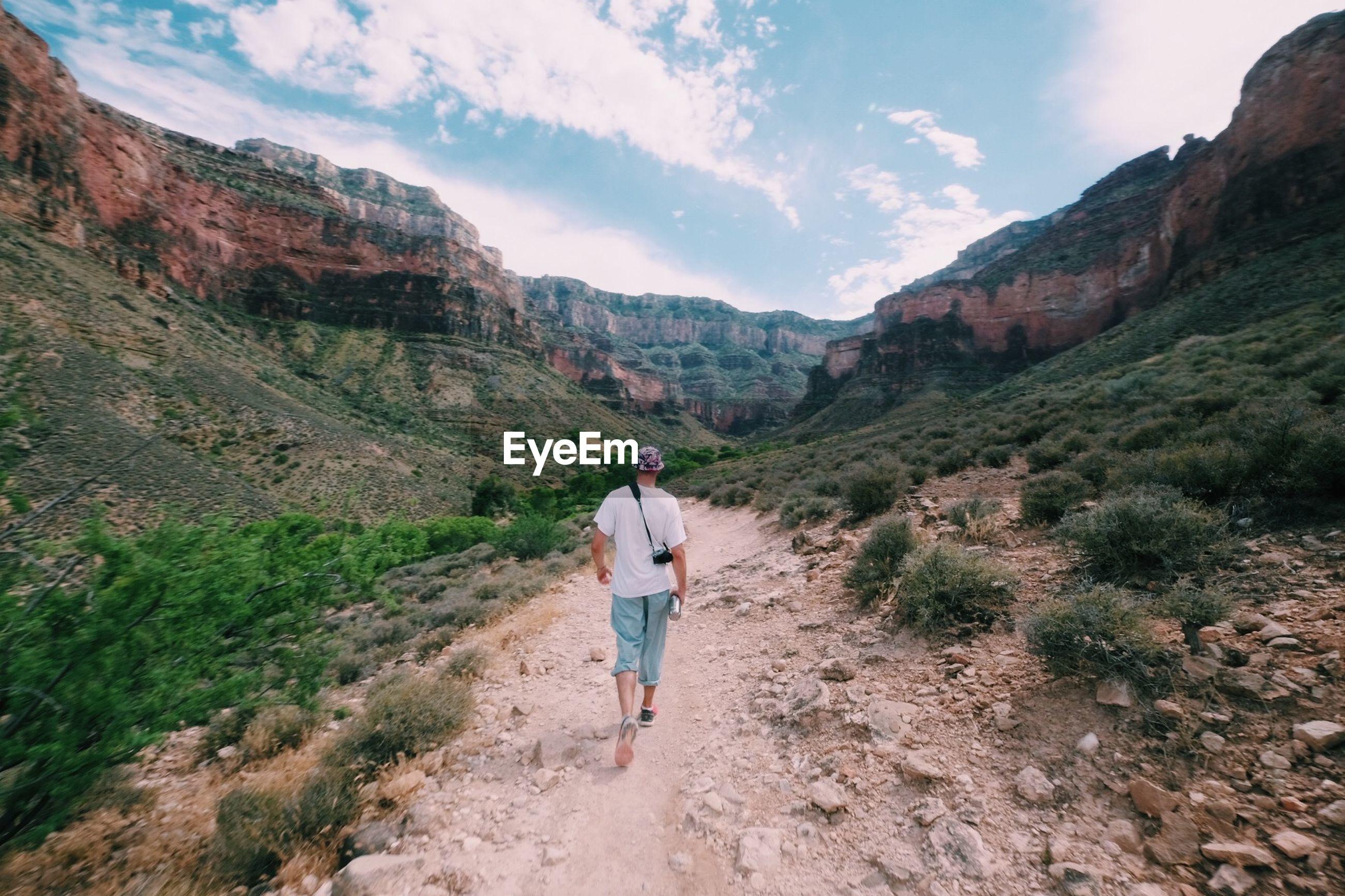 Rear view of man walking on rocky mountain