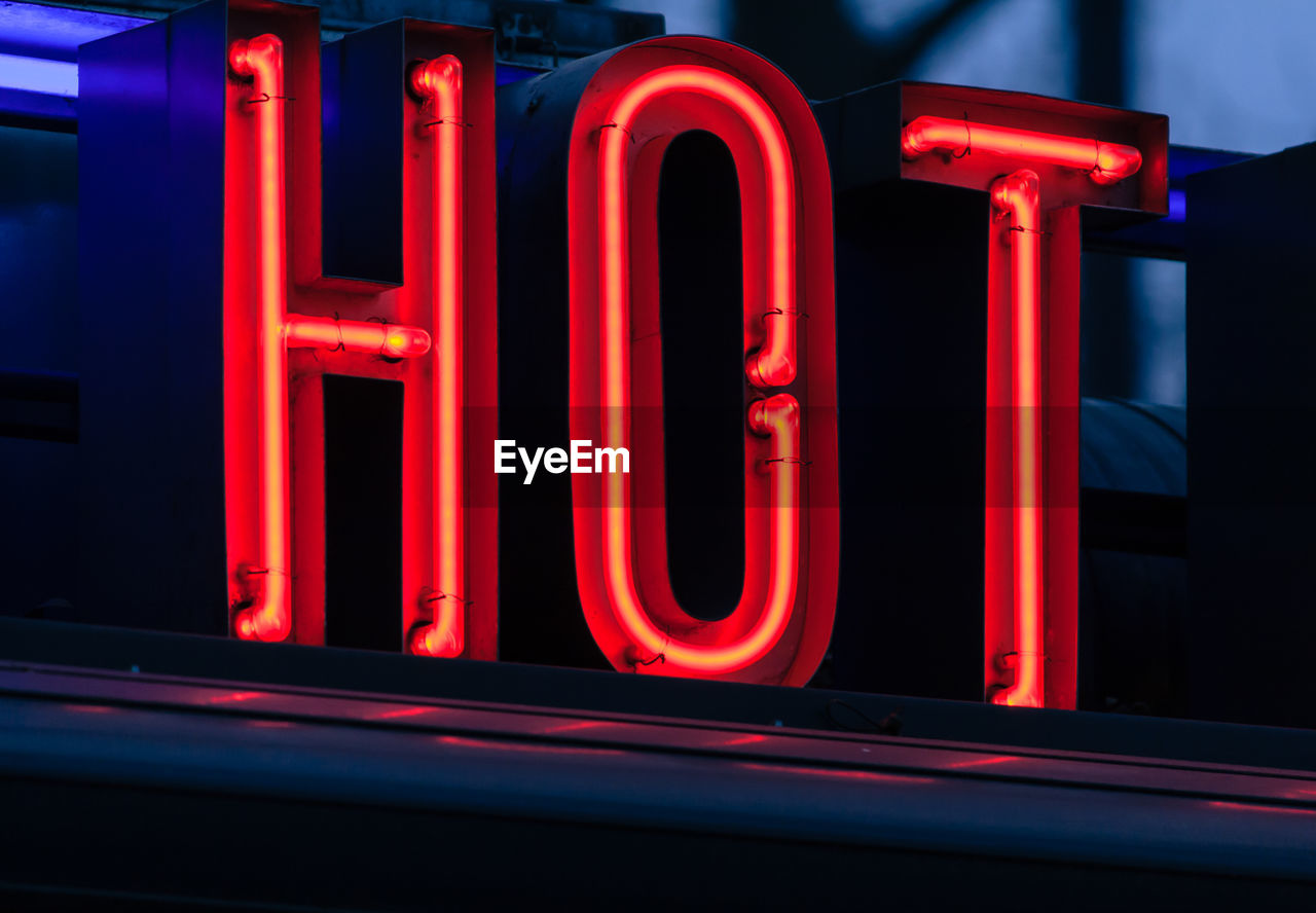 Close-Up Of Hot Sign Of Neon