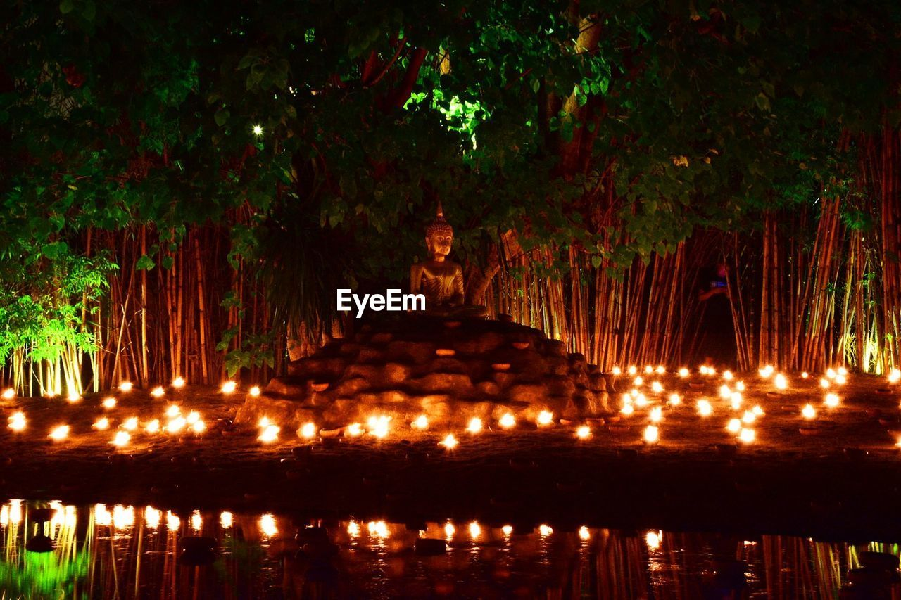 illuminated, water, no people, night, plant, tree, nature, reflection, architecture, sculpture, lake, religion, statue, built structure, human representation, representation, waterfront, art and craft