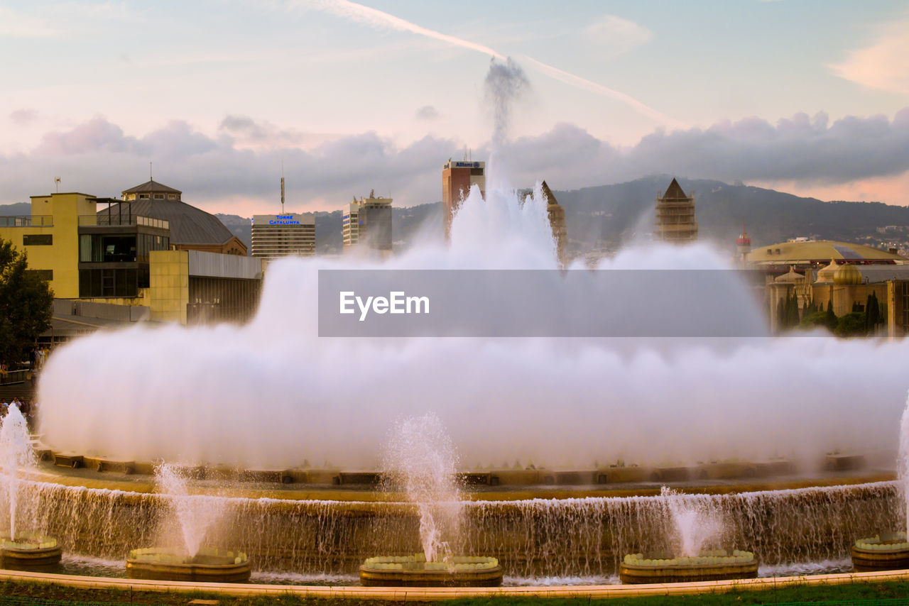 water, architecture, motion, built structure, long exposure, outdoors, building exterior, no people, day, spraying, sky, nature