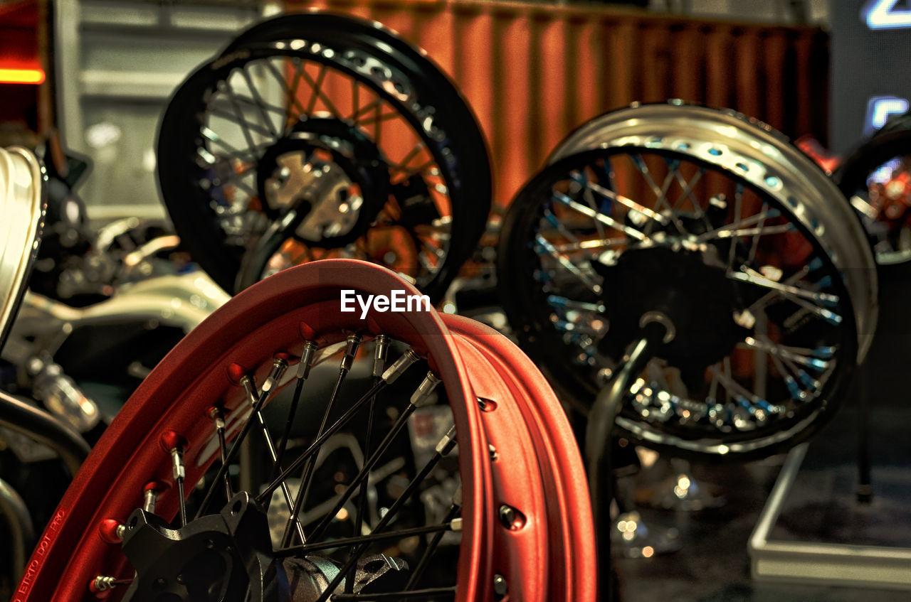Close-Up Of Motorcycle Wheels At Workshop